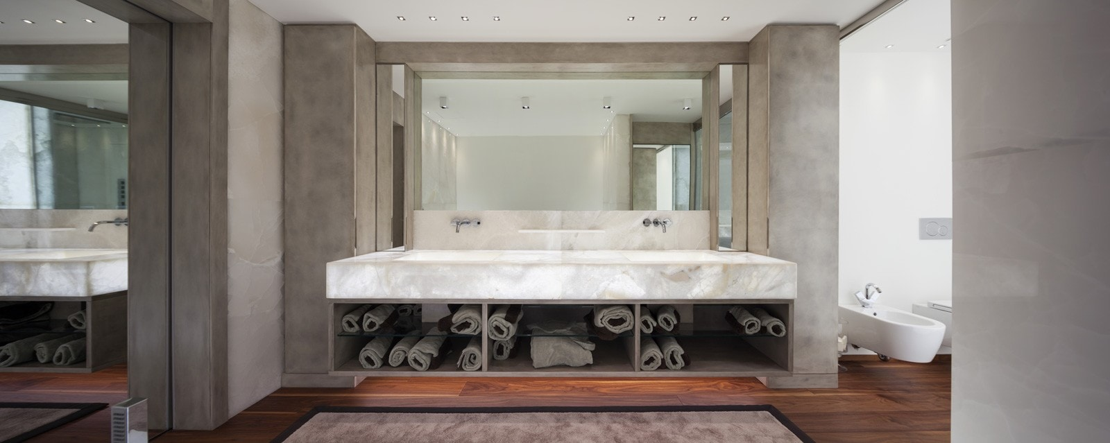 Quartzite Cristallo Backlit Bathroom, Primestones® Granite, Quartz, Marble