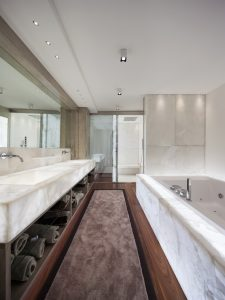 Cristallo Quartzite Backlit Bathroom