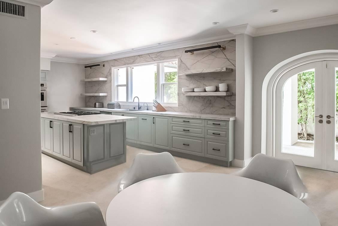 Giotto Mint Kitchen Featured, Primestones® Granite, Quartz, Marble