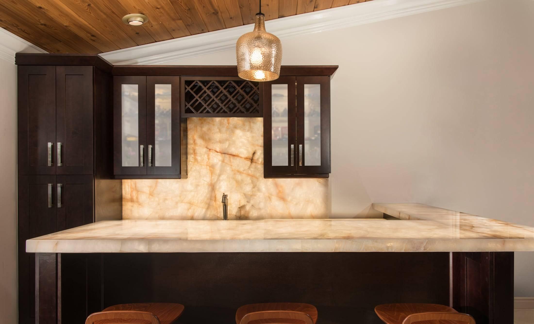 Cristallo Backlit Bar F, Primestones® Granite, Quartz, Marble