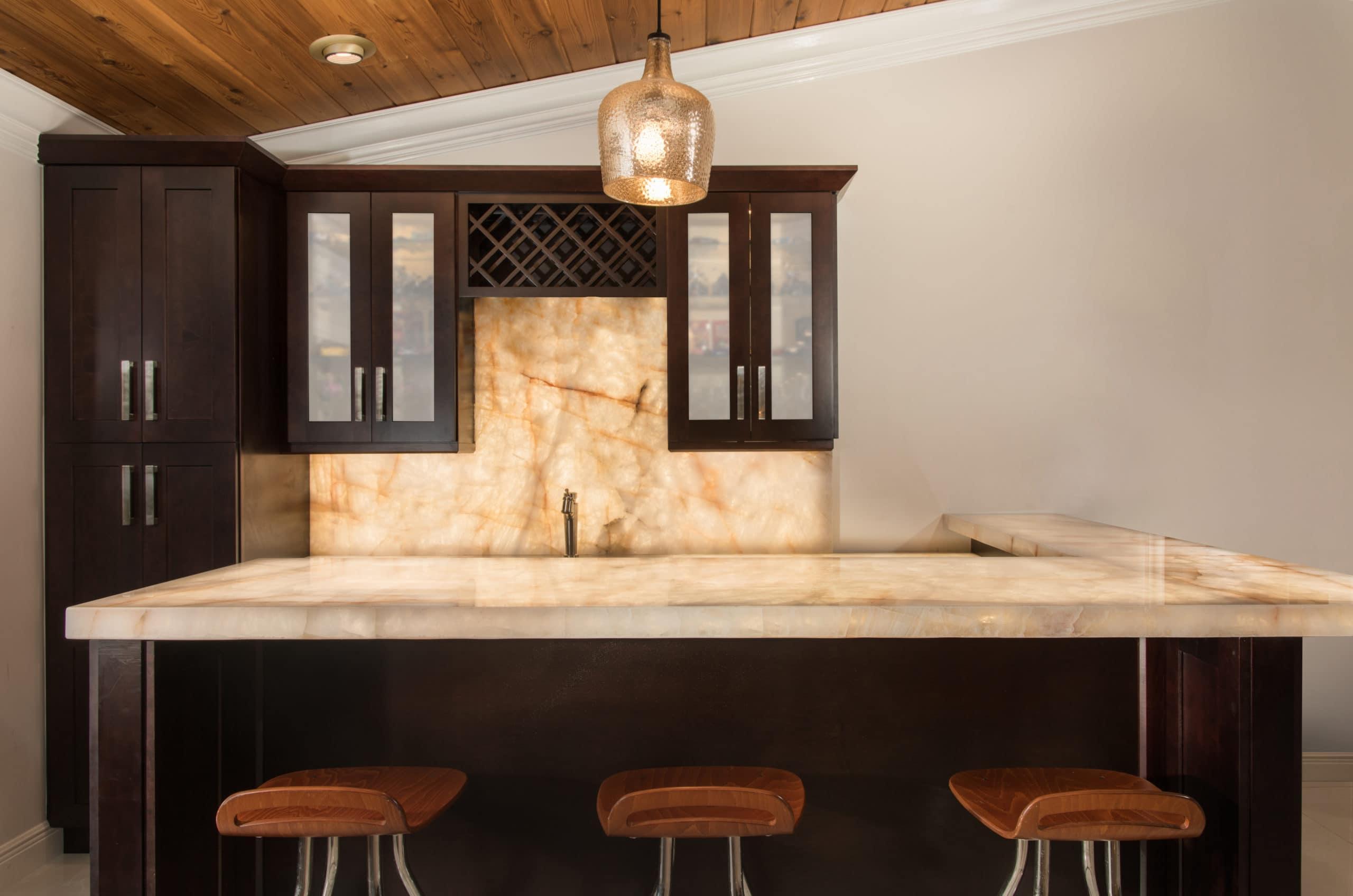 Cristallo Backlit Bar Scaled, Primestones® Granite, Quartz, Marble