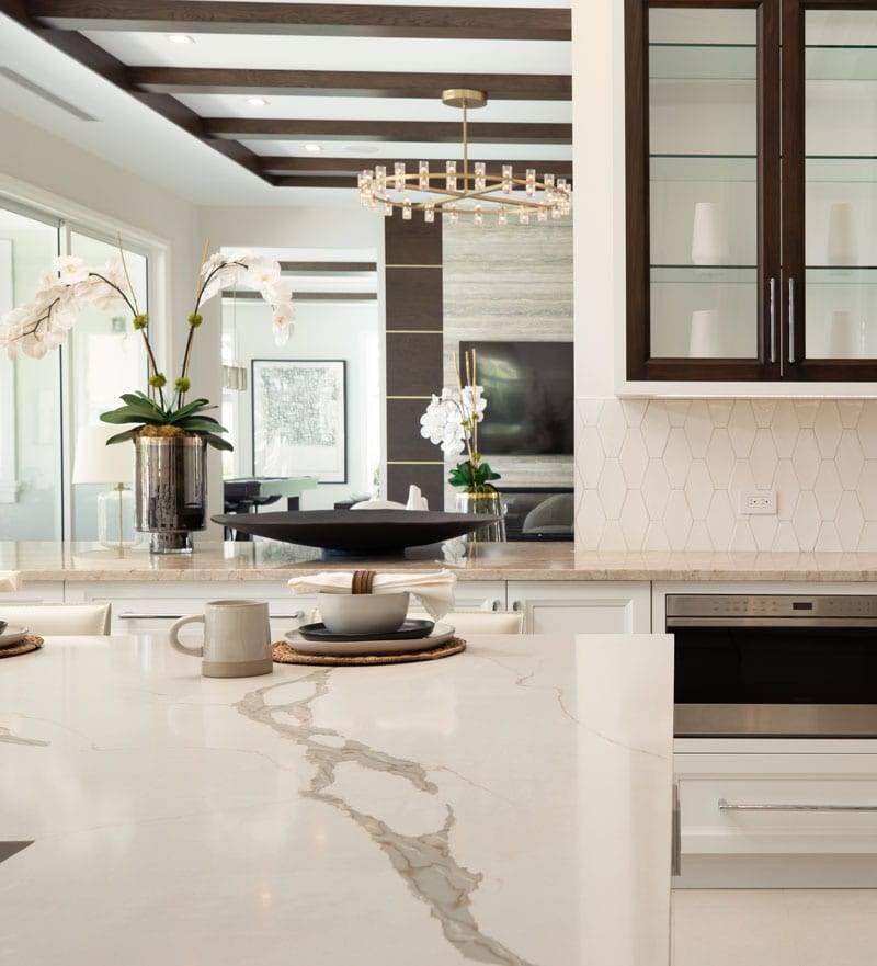 Verona Quartz Island Cropped, Primestones® Granite, Quartz, Marble